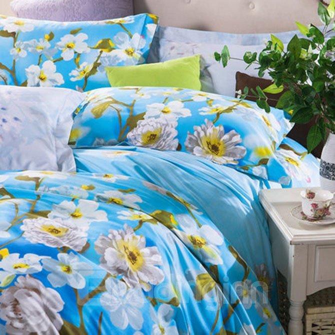 Attractive White Flowers Print Blue 4-Piece Cotton Duvet Cover Sets