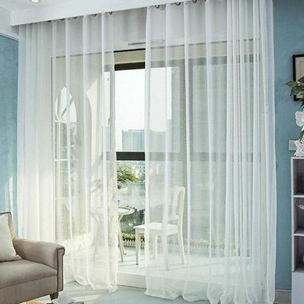 Elegant Comfort Pure Colored Cross Linen Custom Sheer Curtain