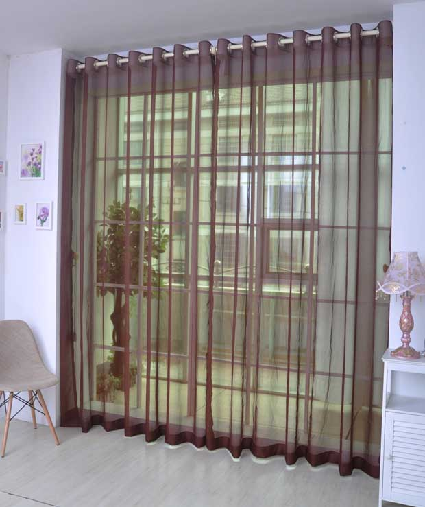 Elegant Comfort Pure Colored Coffee Custom Sheer Curtain