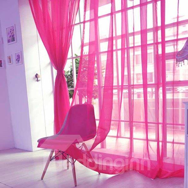 Elegant Pure Colored Rose Red Custom Sheer Curtain