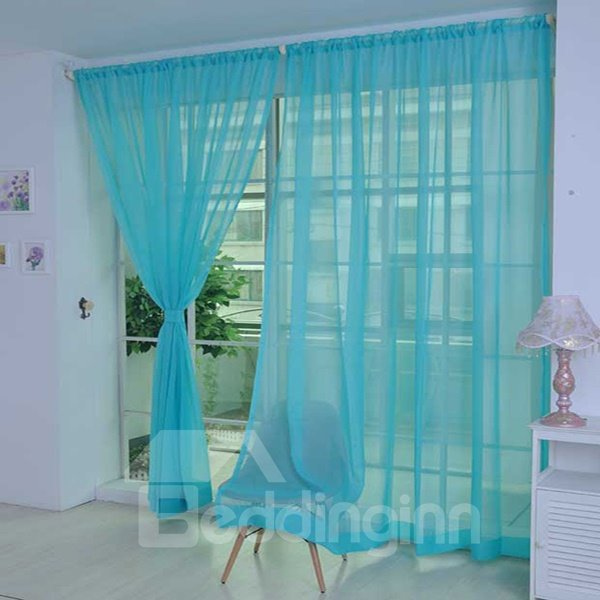 Cost-Effective Pure Colored Lake Blue Custom Sheer Curtain