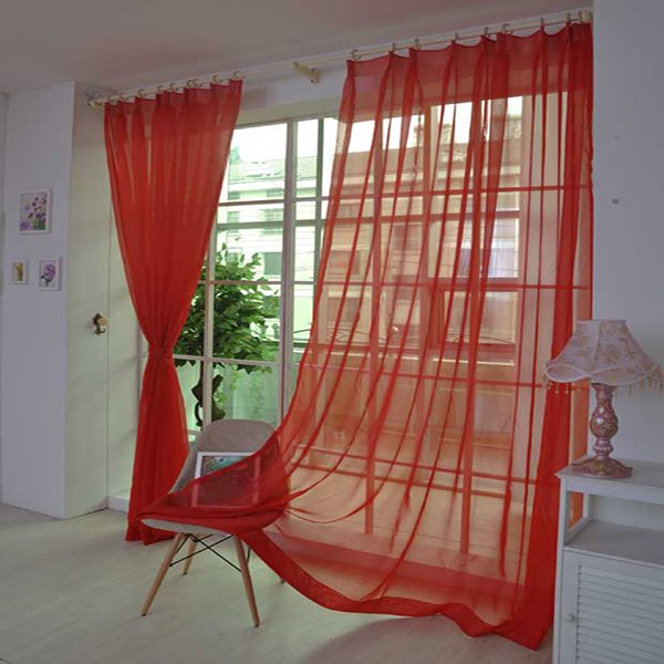 Chic Pure Colored Red Custom Sheer Curtain
