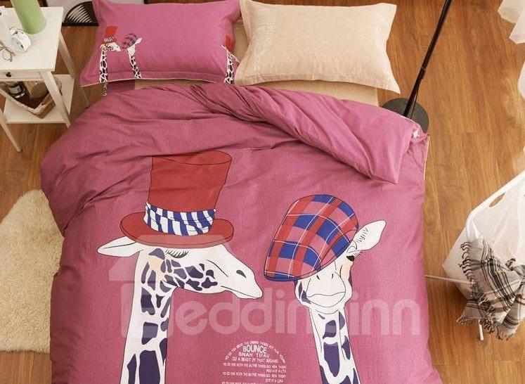 Fashion Lovely Giraffes Print Cotton 4-Piece Bedding Sets