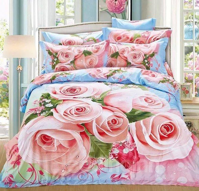 Excellent Pink Rose Print Cotton 4-Piece Bedding Sets