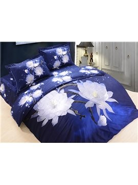 Dreamy White Lotus Print Blue 4-Piece Cotton Duvet Cover Sets