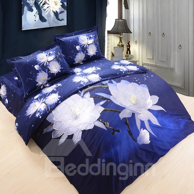 3D Snow Lotus Printed Cotton 4-Piece Blue Bedding Sets/Duvet Covers