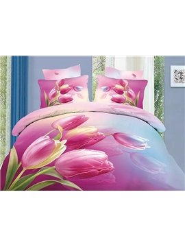 Charming Pink Tulips Print 4 Pieces Bedding Sets