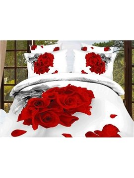 Luxury Red Roes Reactive Printing Cotton 4-Piece Bedding Sets