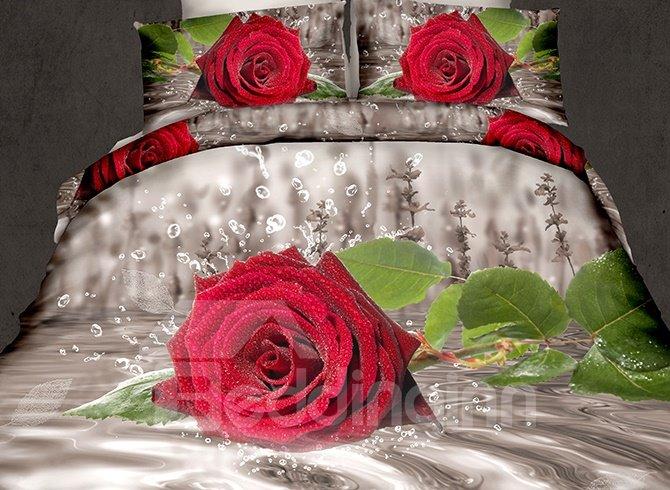 Elegant Red Rose Reactive Printing 4-Piece Polyester 3D Bedding Sets