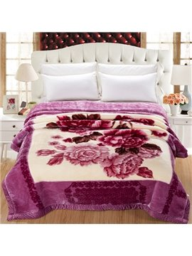 Rural Style Beautiful Peony Print Comfortable Raschel Blanket