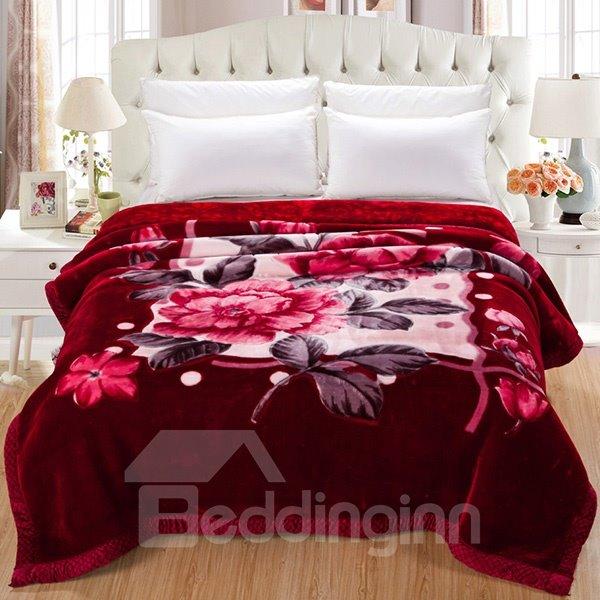 Wonderful Luxury Peony Print Comfortable Raschel Blanket