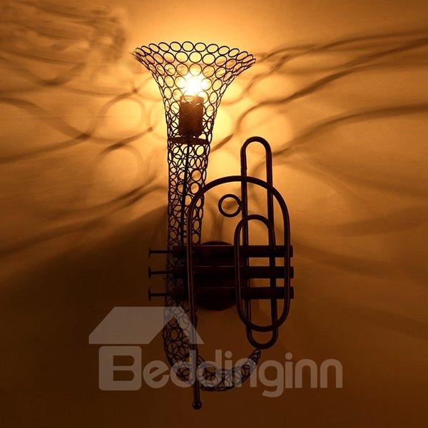 Classic Iron Saxophone Decorative Wall Light