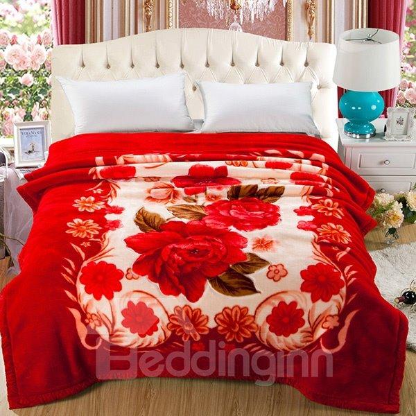 Stylish Sweet Begonia Print Soft Raschel Blanket