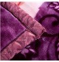 Noble Purple Lovely Peony Print Raschel Blanket