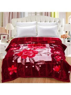 Fiery Red Retro Peony Design Raschel Blanket