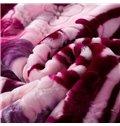Beautiful Super Soft Flower Print Purple Raschel Blanket