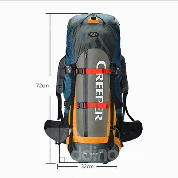 60L Dark Blue Outdoor Camping Hiking Trekking Traveling Nylon Backpack