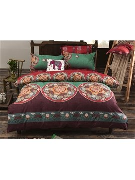 Popular Lightweight Microfiber Bohemia Pattern 4-Piece Duvet Cover Sets