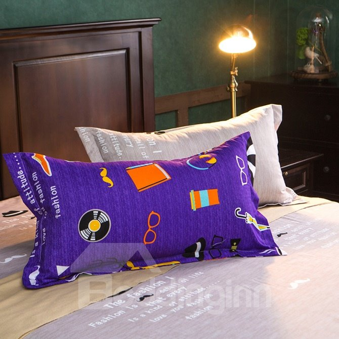 Simple Cartoon Pattern Purple Polyester 4-Piece Duvet Cover Sets