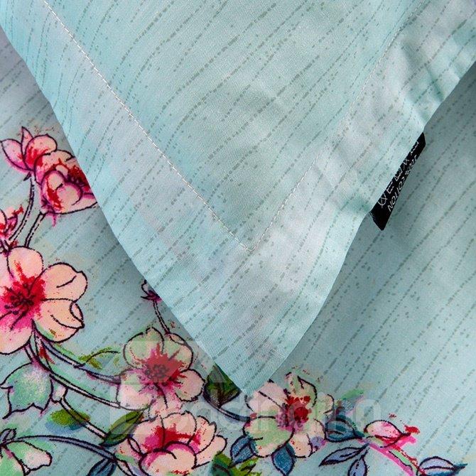 100% Cotton Graceful Flowers Print Blue 4-Piece Duvet Cover Sets