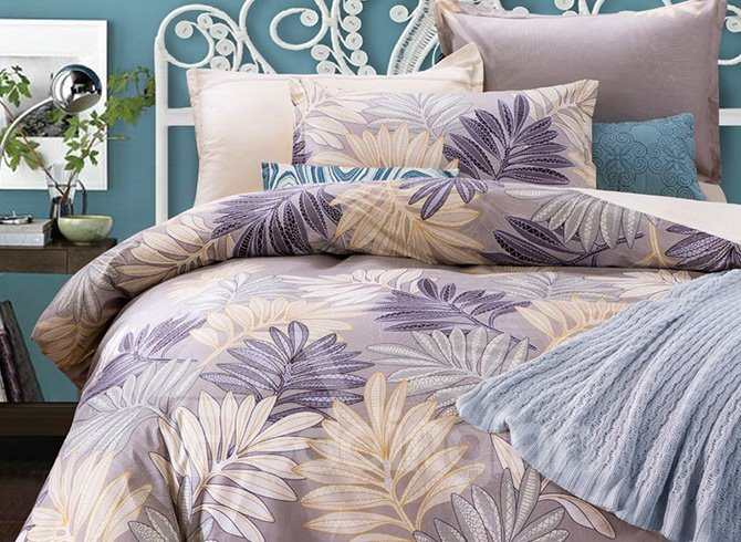 Full Size Faddish Leaves Pattern Purple Cotton 4-Piece Bedding Sets/Duvet Cover
