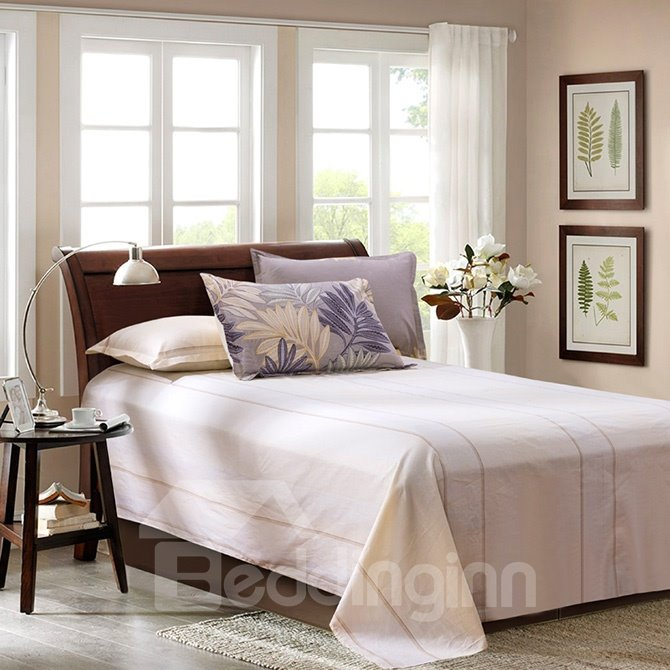 Faddish Leaves Pattern Purple Background 4-Piece Cotton Duvet Cover Sets