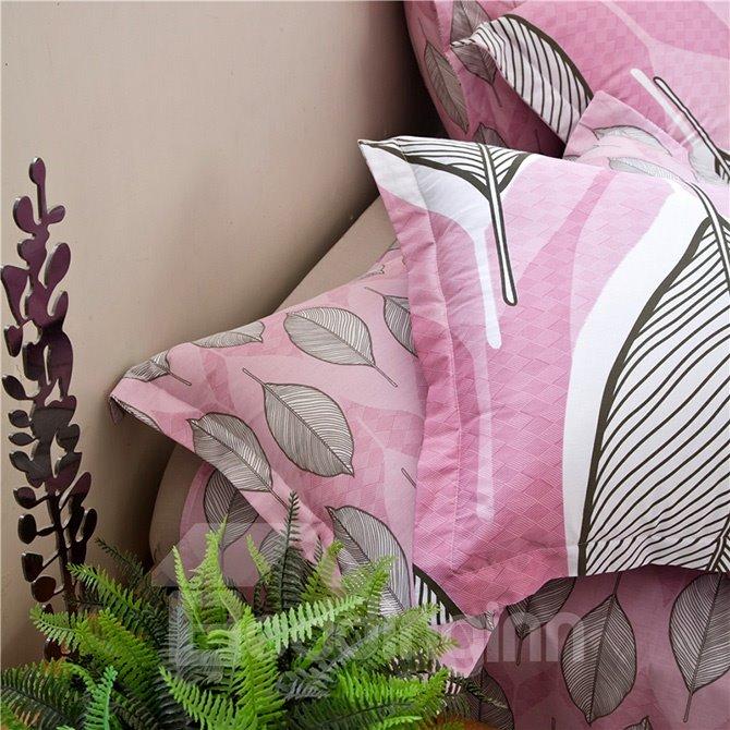 Unique Leaves Pattern Pink Background 4-Piece Cotton Duvet Cover Sets