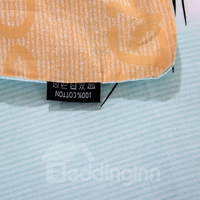 Cat and Sunglasses Pattern Blue Background 4-Piece Cotton Duvet Cover Sets