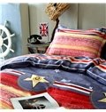 Personalized Red Stripe Pattern Yellow 4-Piece Cotton Duvet Cover Sets