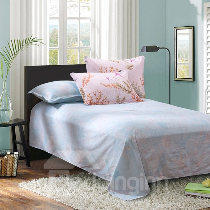 Fashion Personal Style Sea World Pattern Pink 4-Piece Cotton Duvet Cover Sets