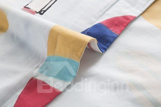 Fantastic Colorful Stationery Pattern 4-Piece Cotton Duvet Cover Sets