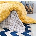 Popular Modern Pattern Print Yellow 4-Piece Cotton Duvet Cover Sets