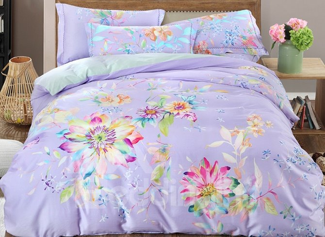 Glamorous Colorful Flowers Print Light Purple 4-Piece Cotton Bedding Sets/Duvet Cover