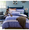 Simple White Stripe Blue Background 4-Piece Cotton Duvet Cover Sets