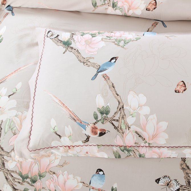 Pink Flowers and Blue Birds Print 4-Piece Cotton Bedding Sets/Duvet Covers