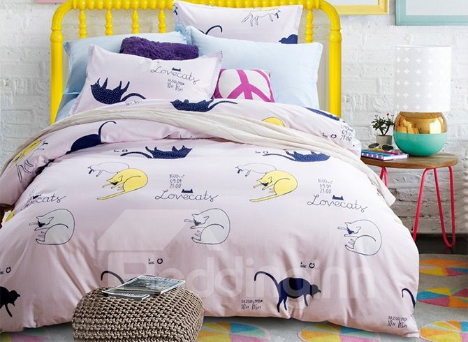 Lovely Cats Pattern Pink 4-Piece Cotton Bedding Sets/Duvet Cover