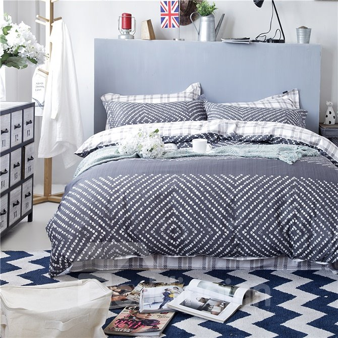 Pure Cotton Concise Pattern Grey 4-Piece Duvet Cover Sets