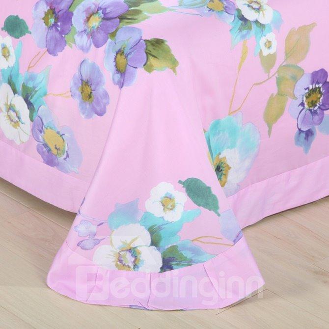 Dreamy Chic Flowers Print Pink 4-Piece Cotton Duvet Cover Sets
