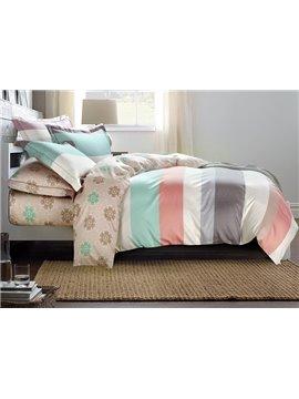 Silky Elegant Stripe Print 4-Piece Cotton Duvet Cover Sets