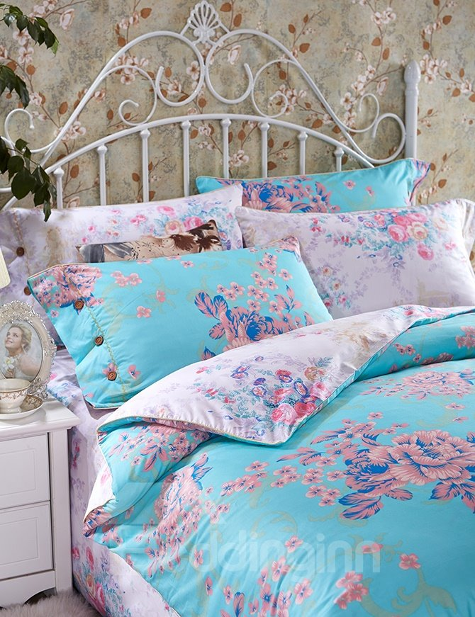 Luxurious Flowers Print Sky Blue 4-Piece Cotton Duvet Cover Sets