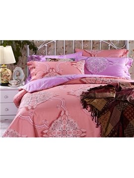 Chic Noble Pattern Print Pink 4-Piece Cotton Duvet Cover Sets