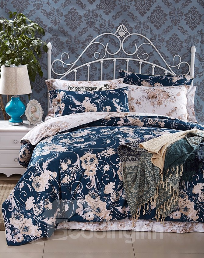 Fancy Rural Style Reactive Printing 4-Piece Cotton Duvet Cover Sets