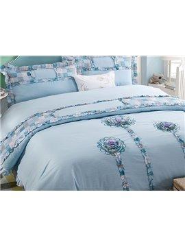 Fabulous Flowers Embroidery Blue 4-Piece Cotton Duvet Cover Sets