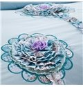 Fabulous Flowers Embroidery Blue 4-Piece Cotton Duvet Cover Sets