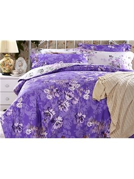 Retro Flower Print Purple 4-Piece Cotton Duvet Cover Sets