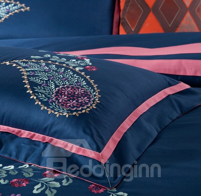 Exotic Style Elegant Embroidery Dark Blue 4-Piece Cotton Duvet Cover Sets