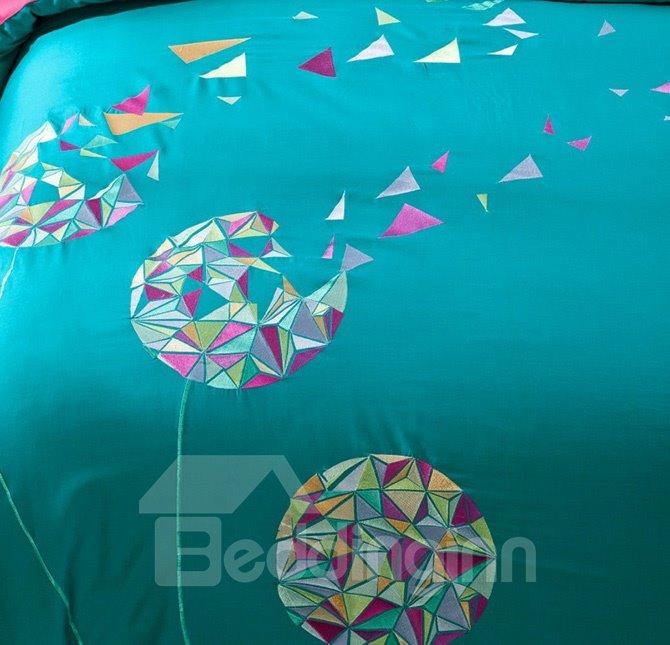 Fancy Dandelion Pattern Embroidery 4-Piece Cotton Duvet Cover Sets