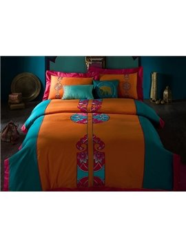 Boho Style Exquisite Embroidery 4-Piece Cotton Duvet Cover Sets