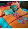 Boho Style Exquisite Embroidery 4-Piece Cotton Duvet Cover Sets