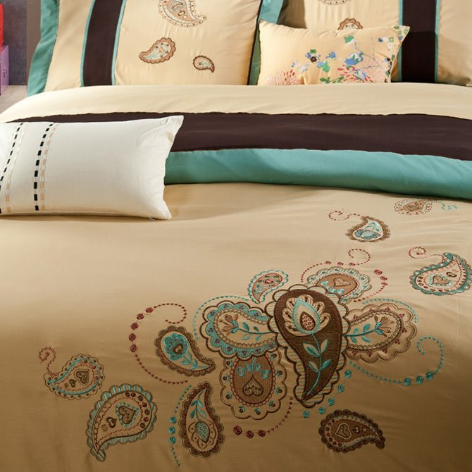 Luxury Style Paisley Pattern Embroidery Cotton 4-Piece Bedding Sets/Duvet Cover